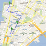 This map shows the proximity of Stuyvesant High School (Point C) and the High School of Economics and Finance (Point A)  to the World Trade Center (Point B) MAP COURTESY OF GOOGLE