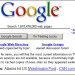 What Google looked like on 9/11. It directed people in the banner under the search bar to turn to their TV or radio instead of searching Google. photo from highervisibility.com