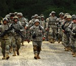 Soldiers of the Army National Guard conduct fire team movement techniques during mobilization training at Fort Dix. (U.S. Army Staff Sgt. Russell Lee Klika)