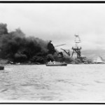 USS Arizona burning at Pearl Harbor. - Library of Congress