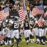 The New York Jets hosted the first Sunday Night Football game of the NFL season at the Meadowlands, and paid their tribute to Sept. 11 before the game.