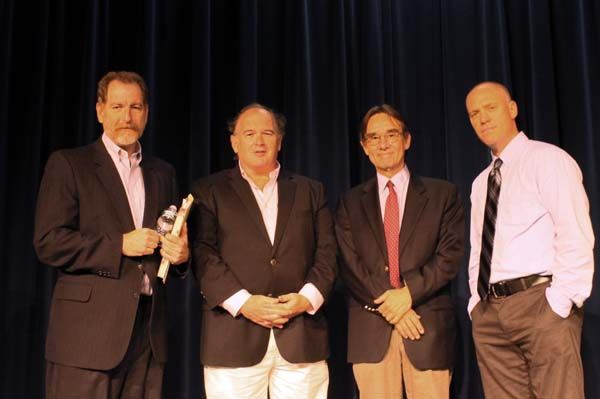 Kevin Flynn, Jim Dwyer, Tom Lueck, Tom Franklin after 9/11 panel. PHOTO/Eileen Tracy
